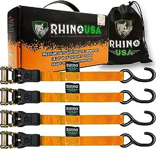 RHINO USA Ratchet Tie Down Straps (4PK) - 1,823lb Guaranteed Max Break Strength, Includes (4) Premium 1
