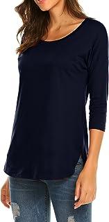 Sherosa Women's Casual 3/4 sleeve Loose Tunic Tops Scoop Neck T-Shirt