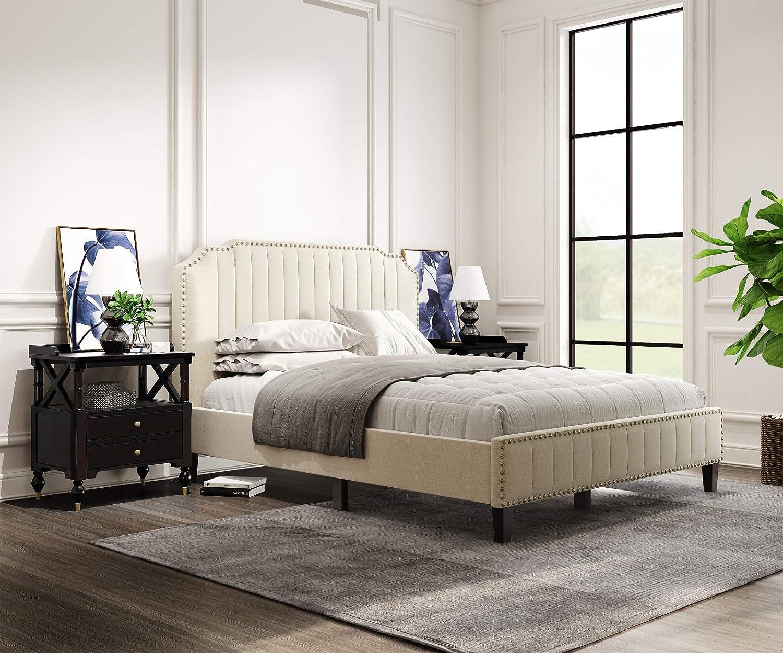 Bombing free shipping Pumpumly Elegant 3 Product Pieces Queen Upholst Set Curved Linen Bedroom