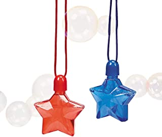 Fun Express - Star-Shaped Bubble Bottle Necklaces for Fourth of July - Toys - Bubbles - Bubble Necklaces - Fourth of July - 12 Pieces