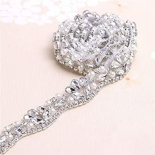 Crystal Sashes for Wedding, Fashion Handmade Wedding Bridal Belt, Braided Rhinestone Appliques Sash,Bridal or Bridesmaid Belt sash Bridal Garters-Sliver-1Yard(36