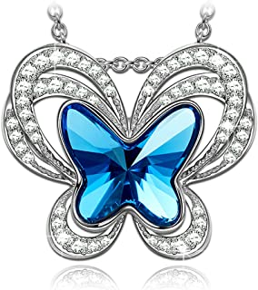 Kate Lynn Christmas Jewelry Gifts for Women Butterfly Swarovski Crystals Pendant Necklaces & Stud Earrings with Gift Box, Soft Cloth
