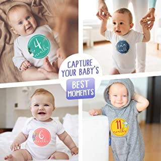 Baby Shower Gifts Best Set of 16 Floral Monthly Stickers First Year - Newborn to 12 Month Belly Stickers for Boy or Girl + 4 Milestone Stickers - Scrapbook Photo Keepsake Gender Neutral Achievement