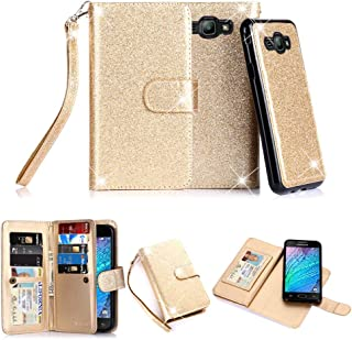 TabPow Galaxy J3 Case, 10 Card Slot - [ID Slot] Wallet Folio PU Leather Case Cover with Detachable Magnetic Hard Case for Samsung Galaxy J3 (2016)/ Express Prime/Amp Prime - Glitter Gold