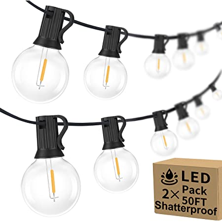 100ft 2-Pack Outdoor G40 LED Globe String Lights Dimmable Waterproof Shatterproof Light Strings with 52 Bulbs Connectable Commercial Hanging Lights for Christmas Patio House Backyard Balcony Party