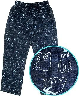 ROCK ATOLL Men's Navy Blue Polar Bear Patterned Soft Flannel Sleep PJ Pants S-XXL