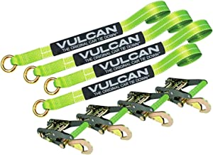 VULCAN Car Rim Tie Downs with Ratchets - 2 Inch x 144 Inch, 4 Pack - High-Viz - 3,300 Pound Safe Working Load