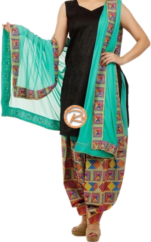 Readymade Salwar Suit, Kurti, Phulkari embroidered Patiala Salwar, Phulkari dupatta