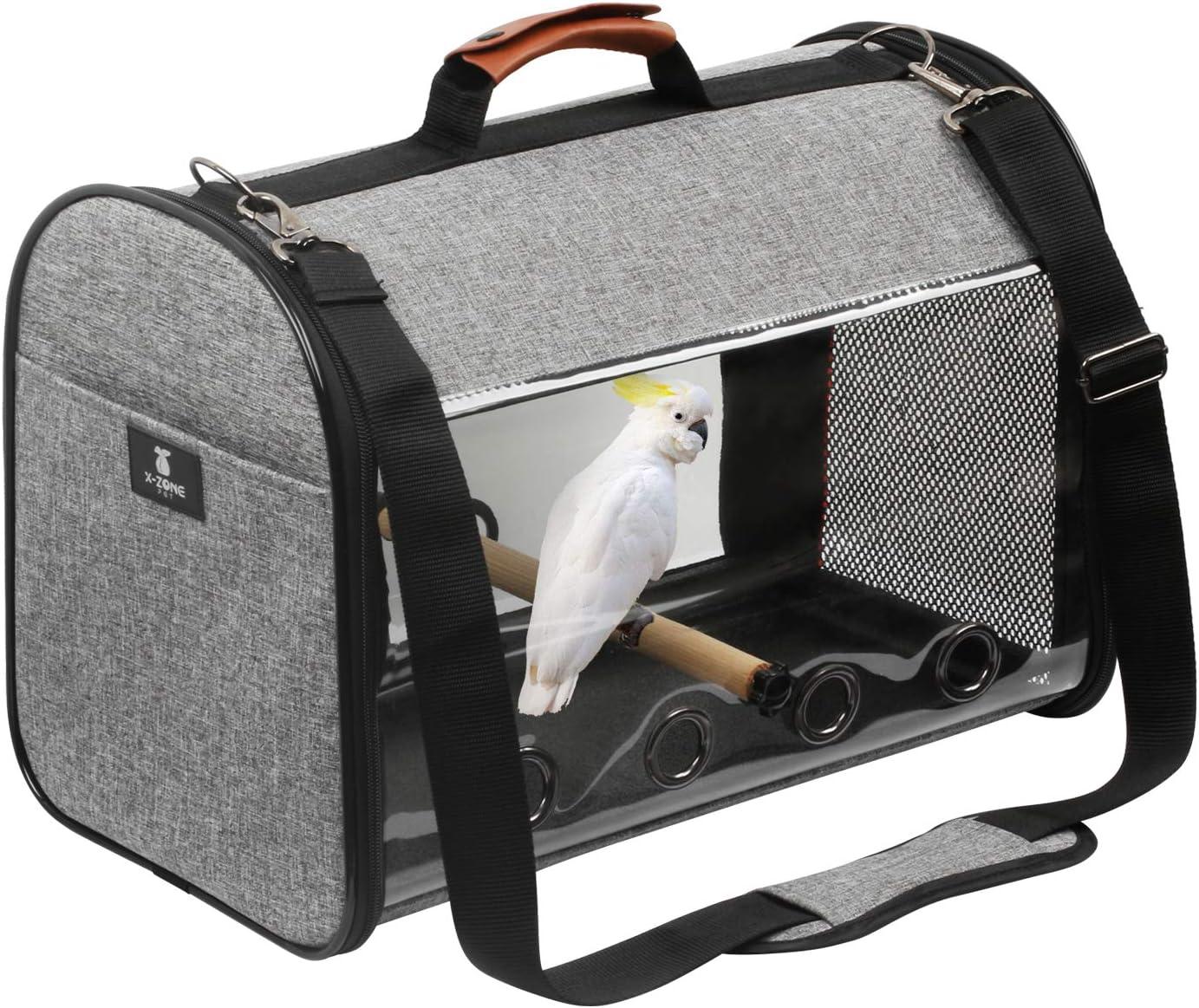 X Zone Pet Bird Travel Bag Portable Pet Bird Parrot Carrier Transparent Breathable Travel Cage Lightweight Bird Carrier Bird Travel Cage Amazon Co Uk Pet Supplies
