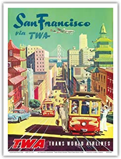 San Francisco California - Trans World Airlines TWA - Vintage Airline Travel Poster by David Klein c.1950s - Master Art Print - 9in x 12in