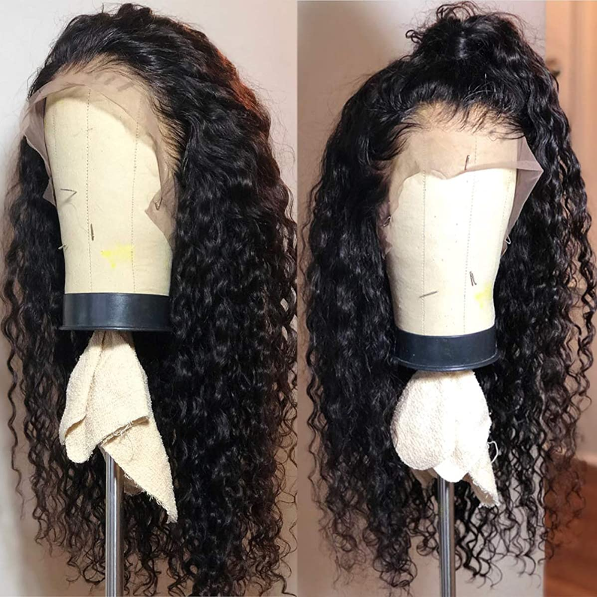 Fureya Long Loose Curly Glueless Lace Front Wigs for Women Heat Resistant Fiber Synthetic Hair with Baby Hair 24 inch