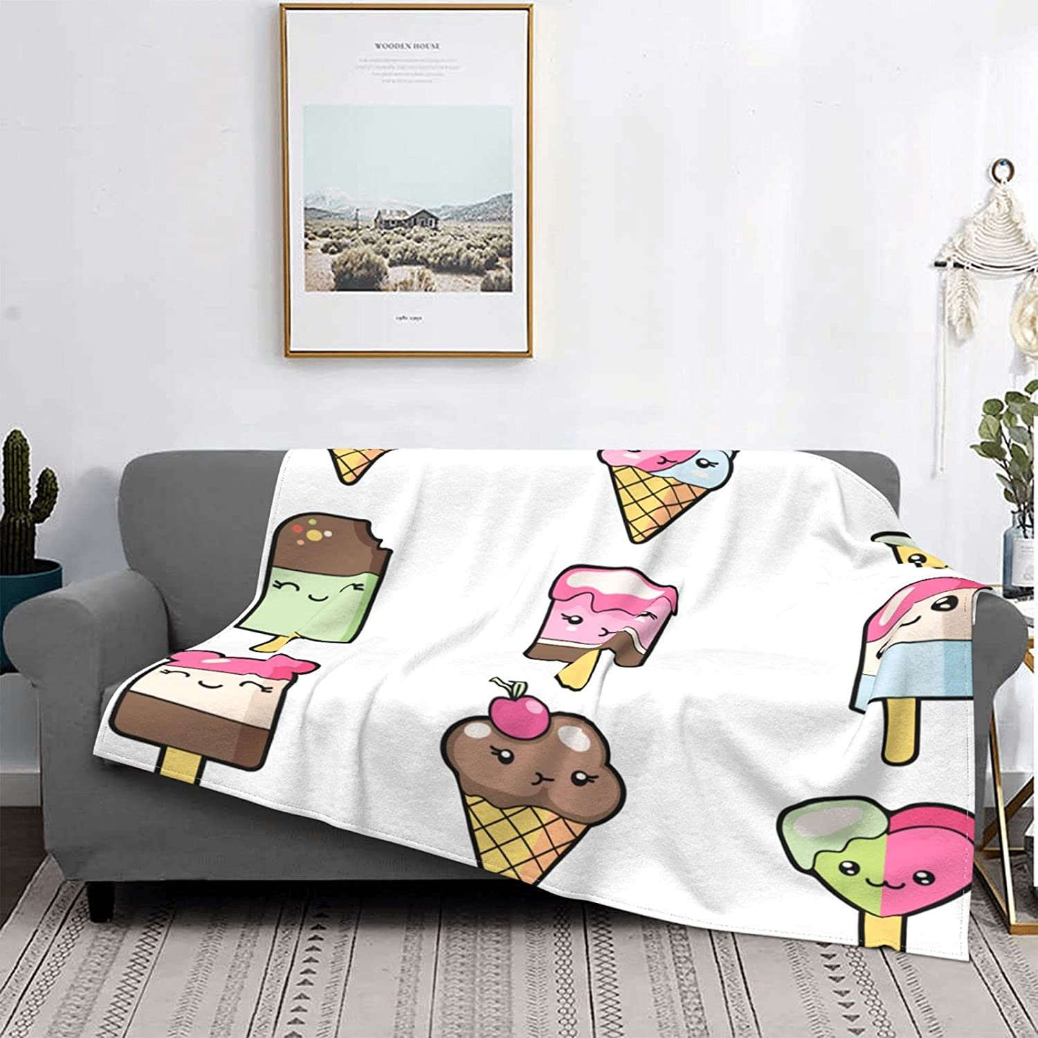 Fleece Throw Blankets Set Cute Cartoon Limited price sale Soft Direct store Icecreams White On L