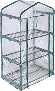 Palm Springs 3 -Tier Mini Greenhouse with Cover and Roll-up Zipper Door
