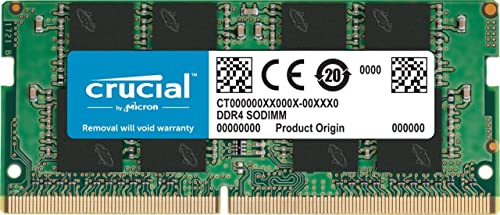 Crucial 16GB (1x16GB) DDR4 SODIMM 2666MHz CL19 1.2V Dual Ranked 2Rx8 Notebook Laptop Memory RAM ~KVR26S19D8/16