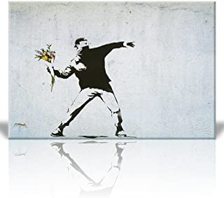 Wall26 Canvas Print Wall Art - Rage the flower thrower - Street Art - Guerilla - Banksy Street Artwork on Canvas Stretched Gallery Wrap. Ready to Hang - 32 x 48 inches