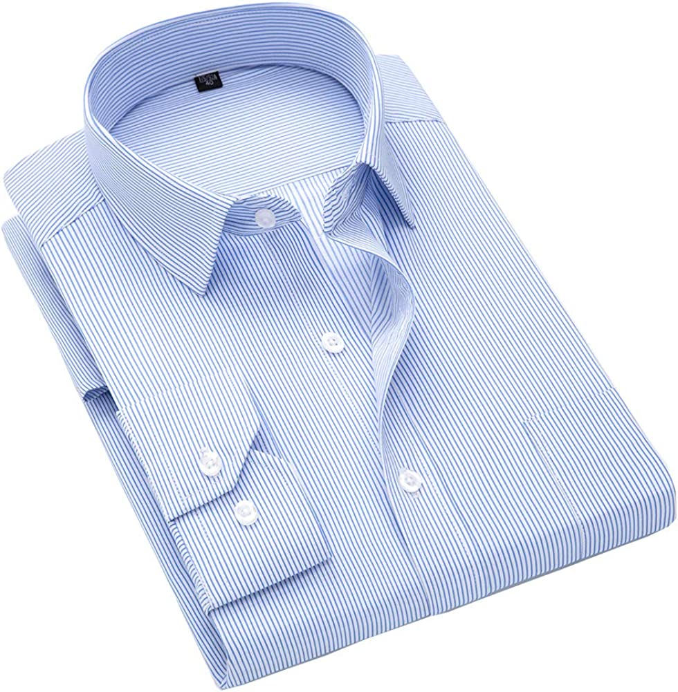 ERZTIAY Men's Classic Casual Vertical Striped Slim Fit Long Sleeve Dress Shirts