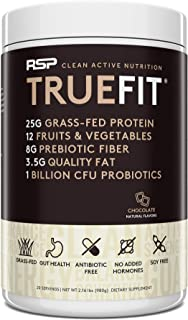 RSP TrueFit- Protein Powder Meal Replacement Shake for Weight Loss, Grass Fed Whey, Organic Real Food, Probiotics, MCT Oil...