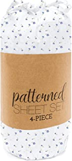 Simply Soft 4 Piece Sheet Set Patterned, Queen, Soft Floral Light Blue