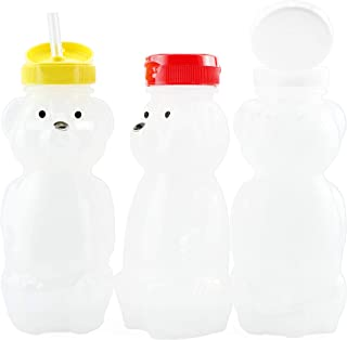 Cornucopia Brands Honey Bear Straw Cups (3-Pack, Colored Lids), 8-Ounce Therapy Sippy Bottles w/Flexible Straws and Colore...