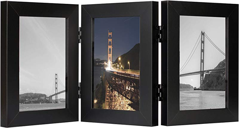 Frametory 4x6 Inch Triple Hinged Black Picture Frame Made To Display Three 4x6 Inch Pictures Stands Vertically On Desktop Or Table Top Real Glass Front