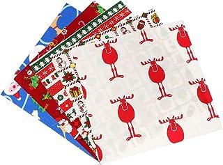 EXCEART 5 Peças de Tecido de Algodão de Natal Macio Floral Acolchoado Pedaço de Pano de Patchwork de Gordura Quartos Recor...