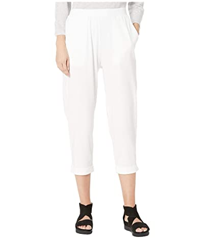 Eileen Fisher Organic Cotton Stretch Jersey Slouchy Cropped Pants w/ Faux Cuff (White) Women