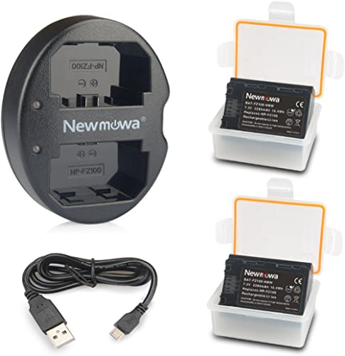 NP-FZ100 Newmowa Battery (2-Pack) and Dual USB Charger for Sony NP-FZ100, BC-QZ1 and Sony Alpha 9, Sony A9, Sony Alph...