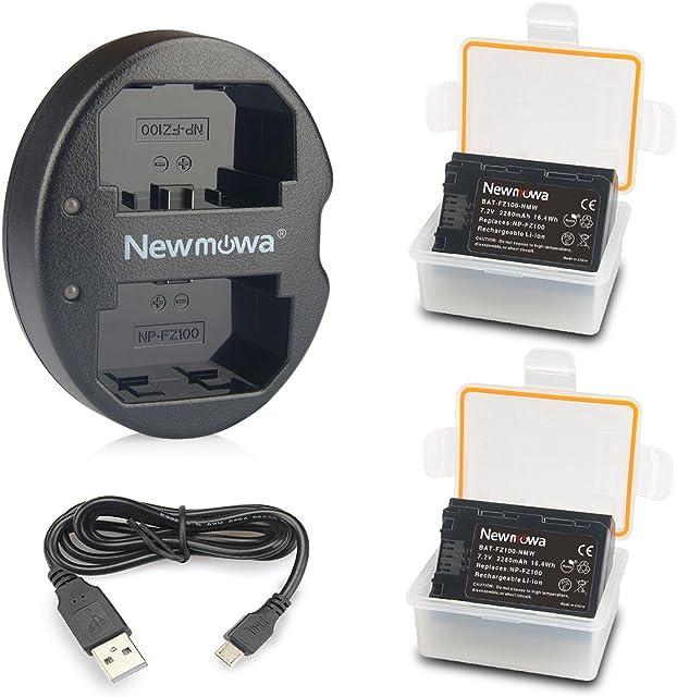 NP-FZ100 Newmowa Batería de Repuesto (2-Pack) y Kit de Cargador Doble para Micro USB portátil para Sony NP-FZ100BC-QZ1 y Sony a6600Alpha 9A9Alpha 9RA9RAlpha 9SA7RIIIA7R3a7 III