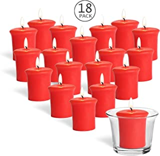 YYCH Home Traditions Single Wick Evenly Burning Highly Scented Votive Candle, Set of 18 (1.8 Oz Each) for Wedding, Birthday, Holiday, Home Décor - Strawberry Fragrance