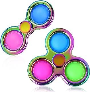 BRIGHT MOON 2 PCS Dimple Fidget Toy Spinner Fidget Toy ,Sensory Fidget Toy Pack Stress Relief Handheld Mini Fidget Toys fo...