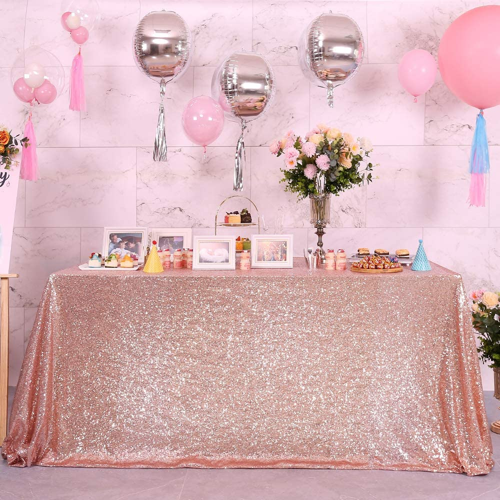 Blxsif Glitter Rose Gold 90x135inch Rectangle Be super welcome All stores are sold Tablecloth Sequin