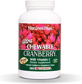 NaturesPlus Ultra Chewable Cranberry Love Berries - 400 mg, 180 Vegetarian Tablets - Natural Cranberry Supplement, Promote...
