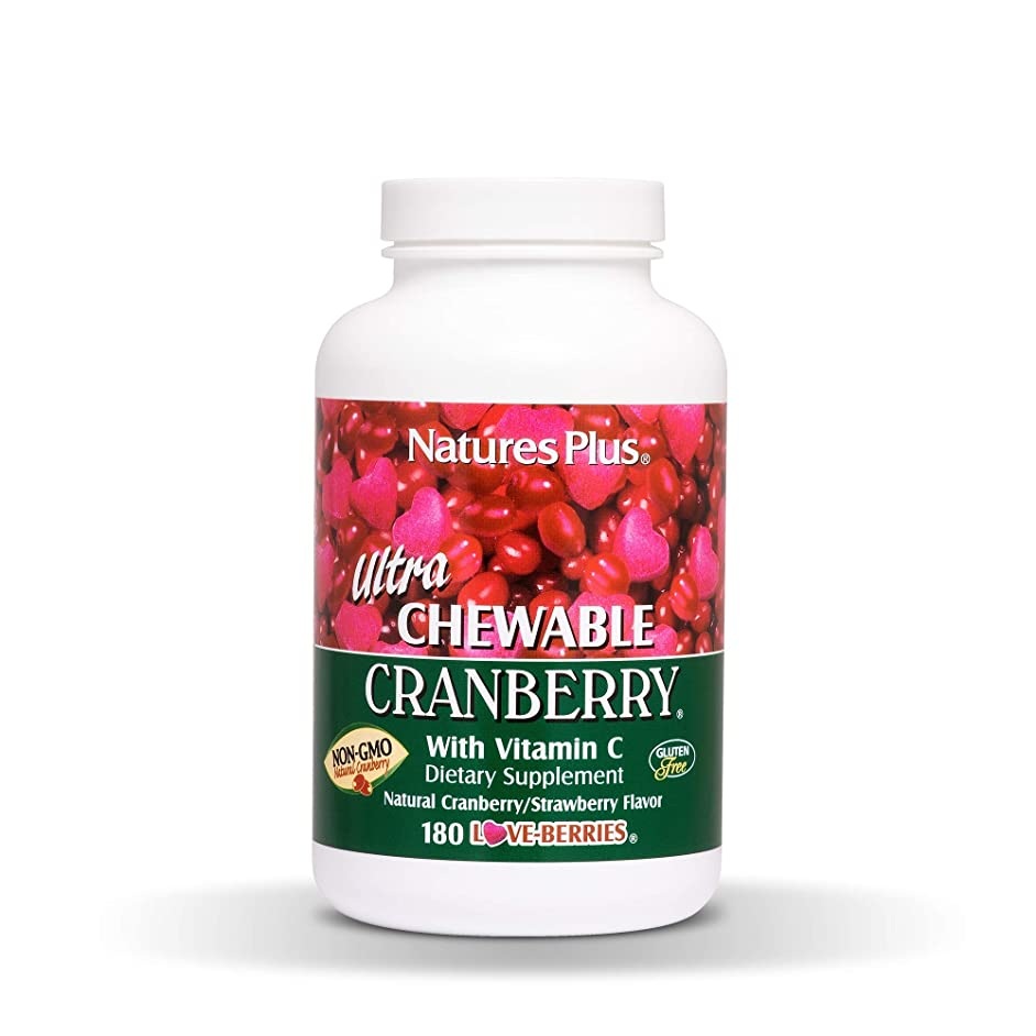 Natures Plus Ultra Chewable Cranberry Love Berries Tablets - 400 mg, 180 Vegetarian Tablets - Natural Cranberry Supplement, Promotes Urinary Tract Health - Gluten Free - 90 Servings
