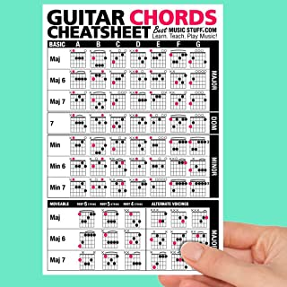Guitar Chords Cheatsheet Laminated Pocket Reference • Best Music Stuff (LARGE - 6-in x 9-in)