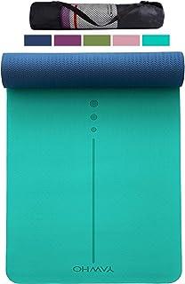 YAWHO Tappetino Yoga Tappetino per Il Fitness Tappetino per Esercizi TPE Materiale Ecologico,Specifiche 183 cm X 66 cm,6 mm di Spessore,Tappetino Sport Antiscivolo,Cinghie e Zaini Regalo