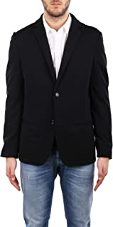 Daniele Alessandrini Men's Blazer with Lapel, Made of Cotton Fabric. Logo Button detail, Unlined, Long Sleeves, Two Slits ...