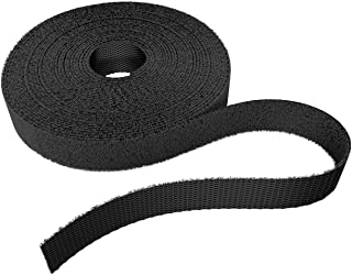 KabelDirekt Slim Hook & Loop Tape for Cables (0.49 inches x 32.8 feet), Reusable, Black