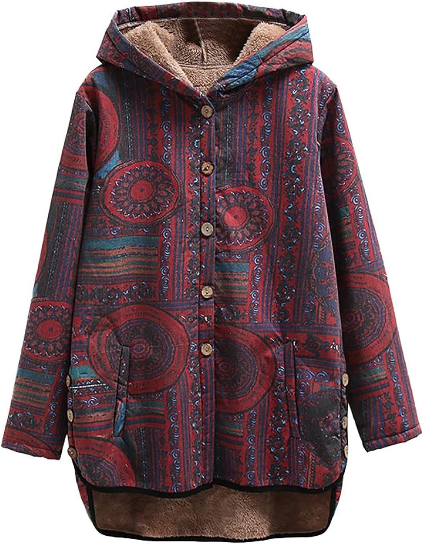 Winter Coats for Women Retro Ethnic Print Top Ladies Plus Fleece Hooded Coat Button Down Fashion Loose Cardigan