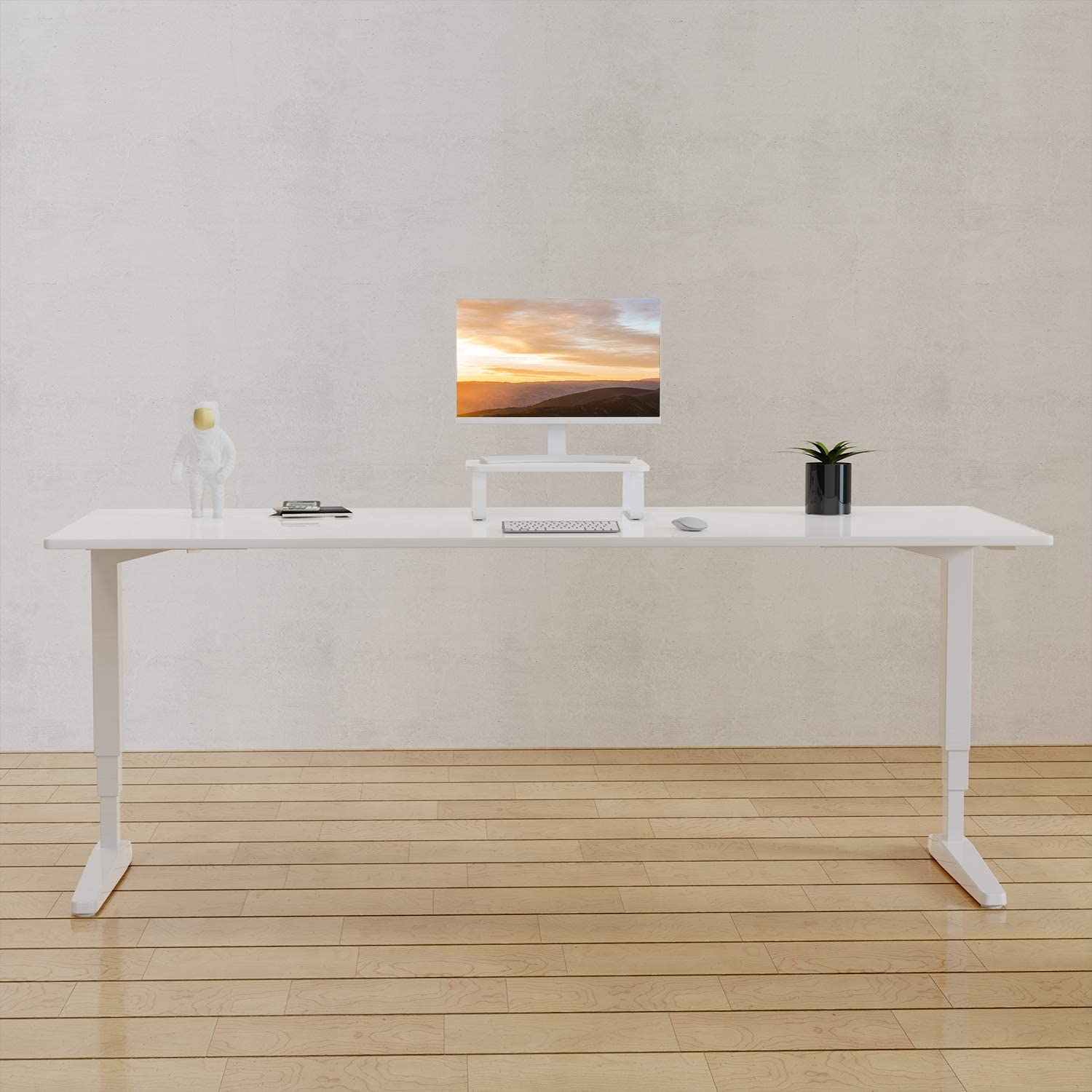 WALI Particle Board Monitor Stand Riser 16 Inch Ergonomic Desk Tabletop Organizer Rounded Edge Table Top for Flat Screen LCD LED Display, Laptop Notebook, Game Consoles (PTT004-W), White