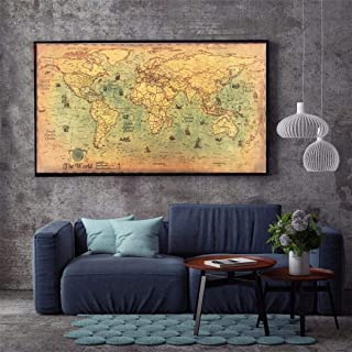 Giuoke Great Sailing Era World Map Antique Vintage Old Style Home Decor Poster Print, 39.37x19.69inch