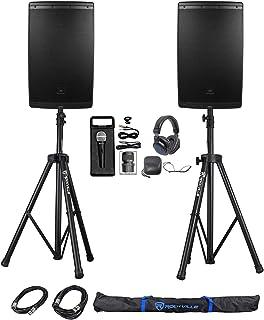 "(2) JBL EON615 15"" 2000 Watt Powered DJ PA Speakers+Stands+Cables+Mic+Headphones"