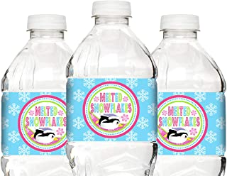POP parties Penguin Pink Bottle Wraps - 20 Penguin Water Bottle Labels - Penguin Decorations - Penguin Party Supplies - Bottle