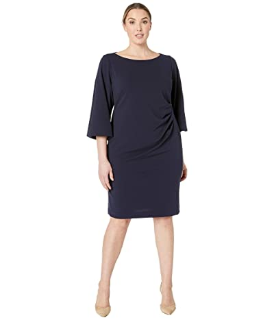 LAUREN Ralph Lauren Plus Size 130H Luxe Tech Crepe Louisa Elbow Sleeve Day Dress (Lighthouse Navy) Women