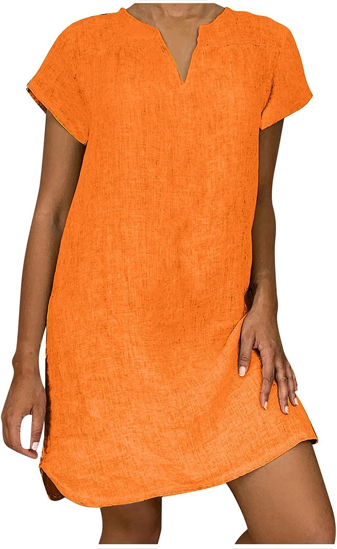 Womens SALENEW New product! New type very popular Dresses Summer Casual Cotton Linen Sleeve Sundress Short