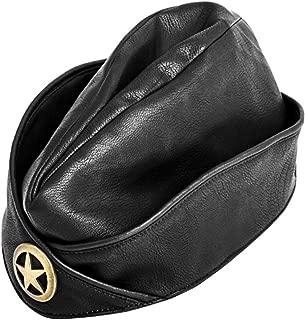 Leather Military Uniform Cap Black