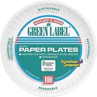 "AJM AJMPP6GRE Green Label Paper Plates, Microwavable, 6"" Diameter (10 Pack of 100)"