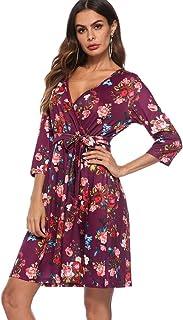 TCA Tolo&Cara Midi Dress for Women Floral Summer Boho Vintage Beach V-Neck 2/3 Sleeve with Belt Waist