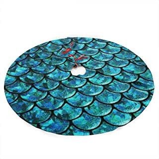 NINAIN Mermaid Scales.jpg Christmas Tree Skirt 36inches Polyester Tree Skirt for Xmas Tree Mat Christmas Holiday Party Decoration-Holiday Nouveau Christmas Tree Skirt