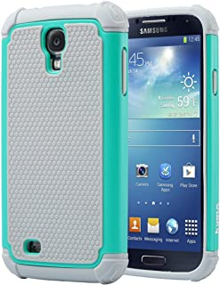 ULAK Galaxy S4 Case, Knox Armor S4 Case, Shock Absorbing Hybrid Rubber Plastic Slim Cover Soft Silicone Skin Dual Layer Protection Defensive Case for Samsung Galaxy S4 S IV I9500 GS4 -Grey/Turquoise