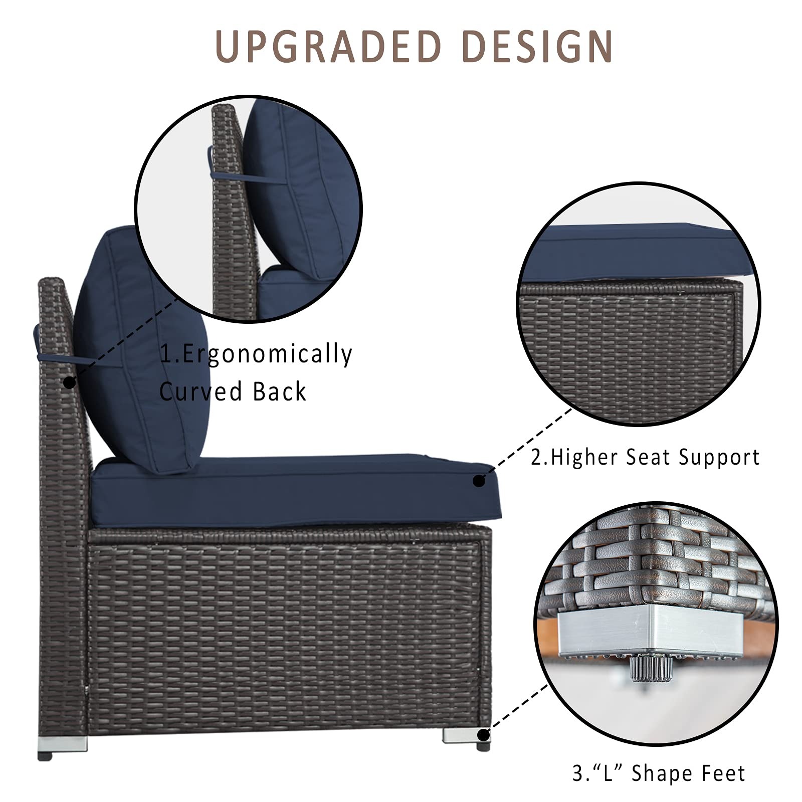 Kullavik Outdoor Patio Furniture Set 6 Pieces Sectional Rattan Sofa Set Brown PE Rattan Wicker Patio Conversation Set with 5 Navy Blue Seat Cushions and 1 Tempered Glass Table